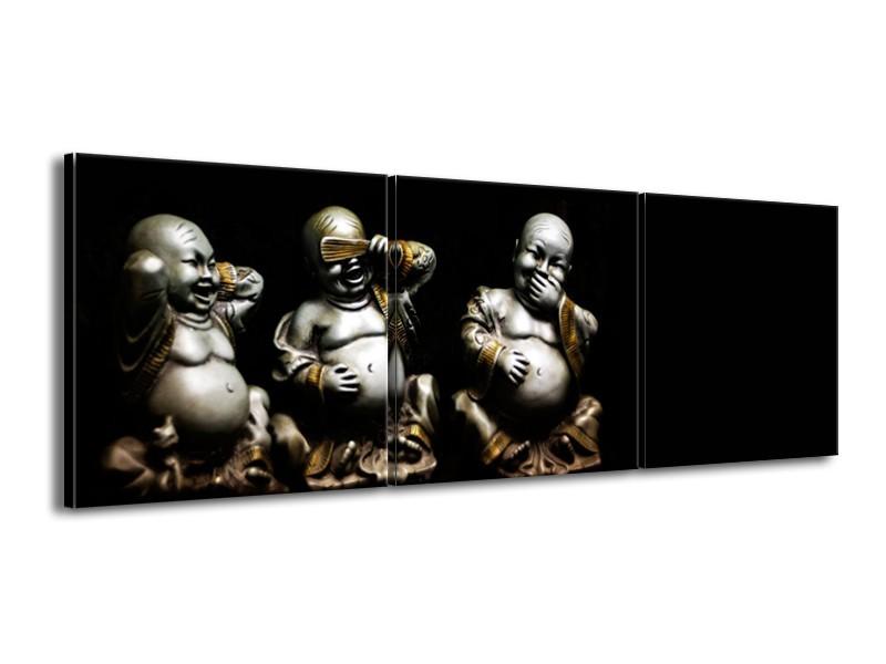 Canvas Schilderij Boeddha, Beeld   Zwart, Grijs   150x50cm 3Luik