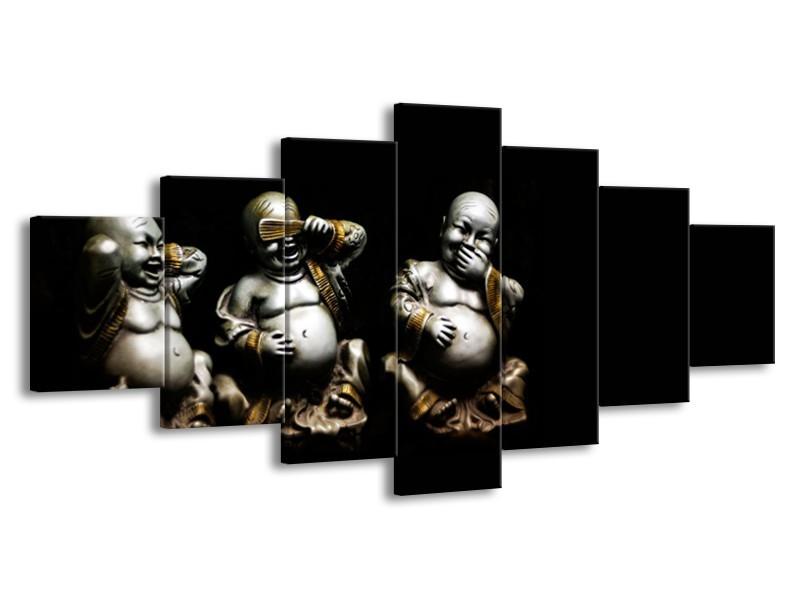 Glasschilderij Boeddha, Beeld | Zwart, Grijs | 210x100cm 7Luik