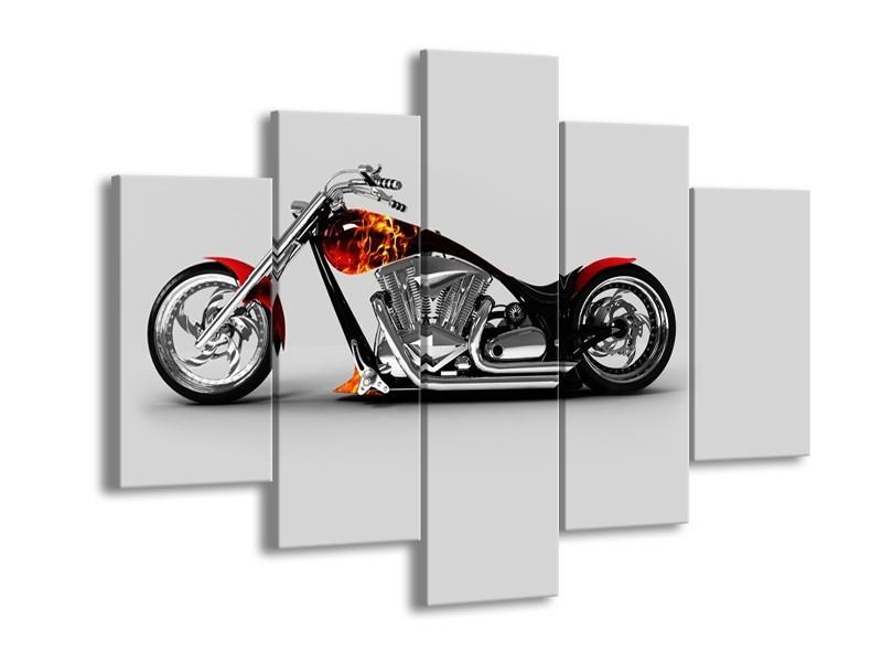 Canvas Schilderij Motor | Grijs, Zwart, Oranje | 150x105cm 5Luik