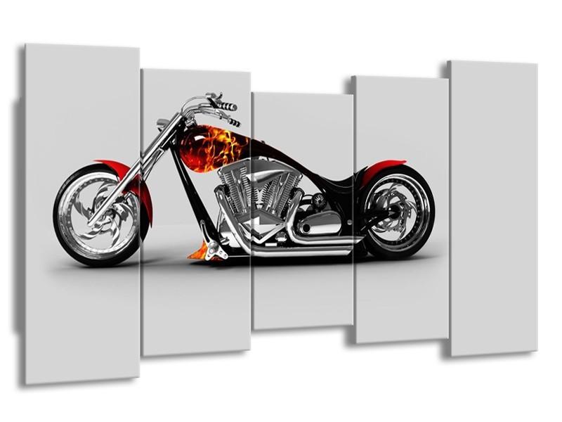 Glasschilderij Motor | Grijs, Zwart, Oranje | 150x80cm 5Luik