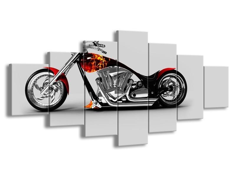 Glasschilderij Motor | Grijs, Zwart, Oranje | 210x100cm 7Luik