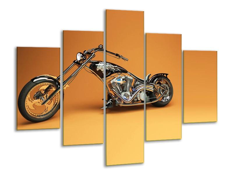 Canvas Schilderij Motor | Bruin, Geel, Oranje | 100x70cm 5Luik