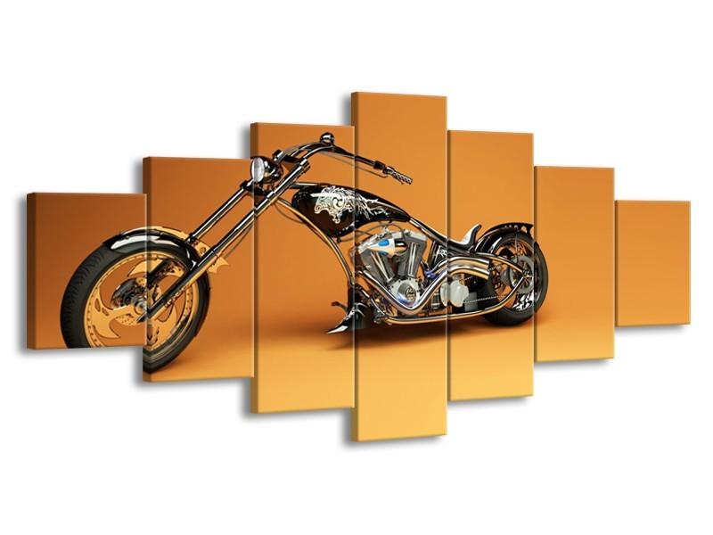 Glasschilderij Motor | Bruin, Geel, Oranje | 210x100cm 7Luik