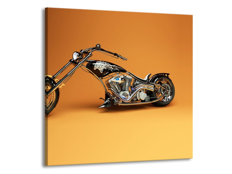 Glasschilderij Motor | Bruin, Geel, Oranje | 50x50cm 1Luik