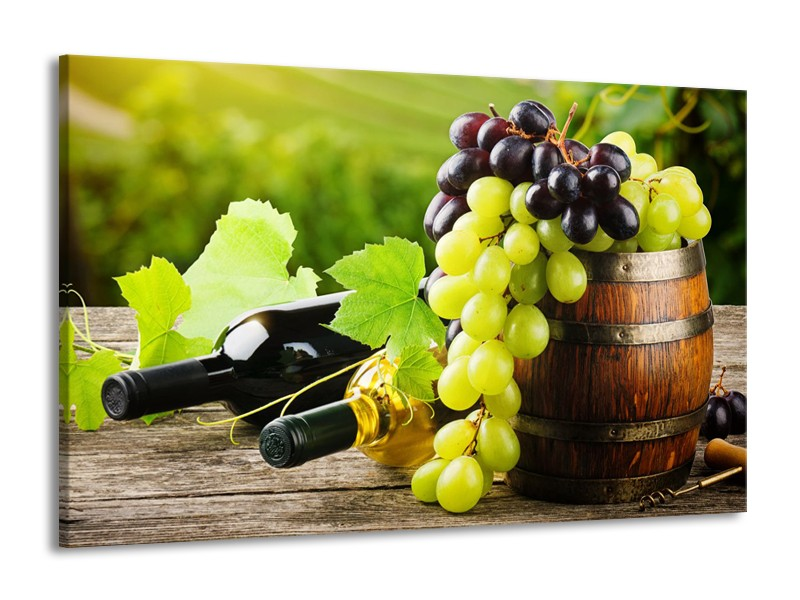 Canvas Schilderij Keuken, Druiven | Groen, Bruin | 140x90cm 1Luik