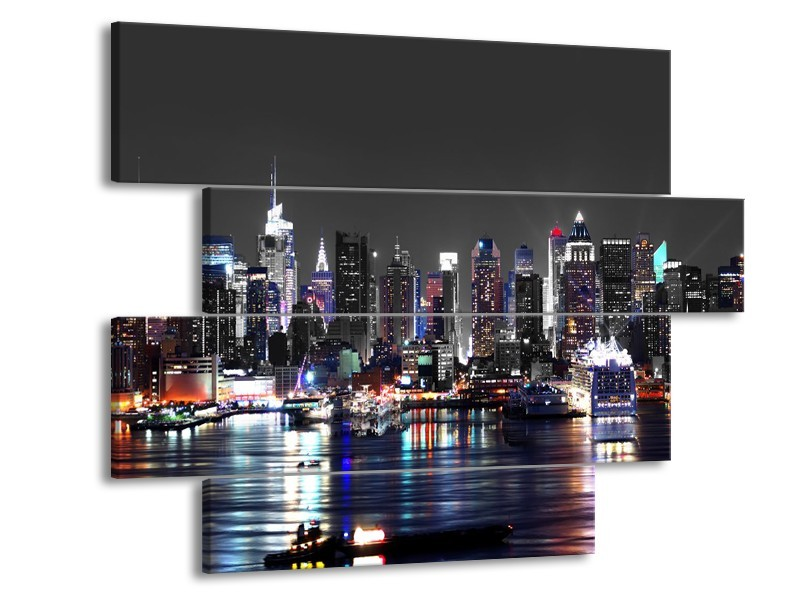 Canvas Schilderij Skyline, Steden | Grijs, Zwart, Paars | 115x85cm 4Luik