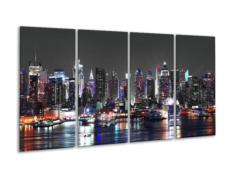 Canvas Schilderij Skyline, Steden | Grijs, Zwart, Paars | 160x80cm 4Luik