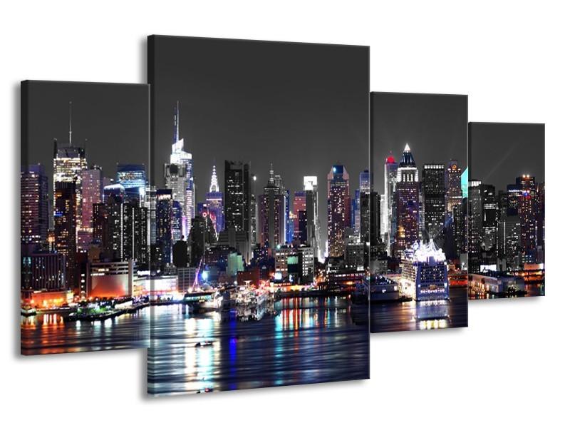Glasschilderij Skyline, Steden | Grijs, Zwart, Paars | 160x90cm 4Luik