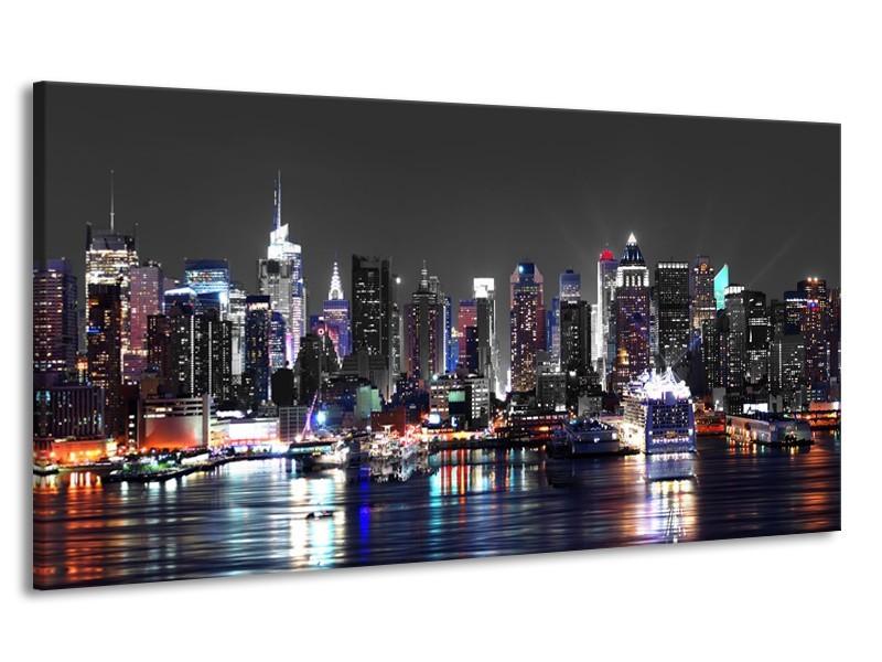 Canvas Schilderij Skyline, Steden | Grijs, Zwart, Paars | 170x90cm 1Luik