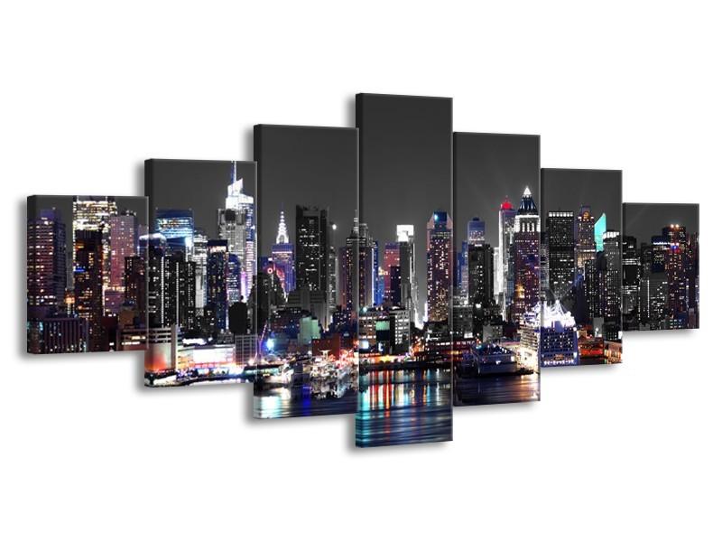 Glasschilderij Skyline, Steden | Grijs, Zwart, Paars | 210x100cm 7Luik