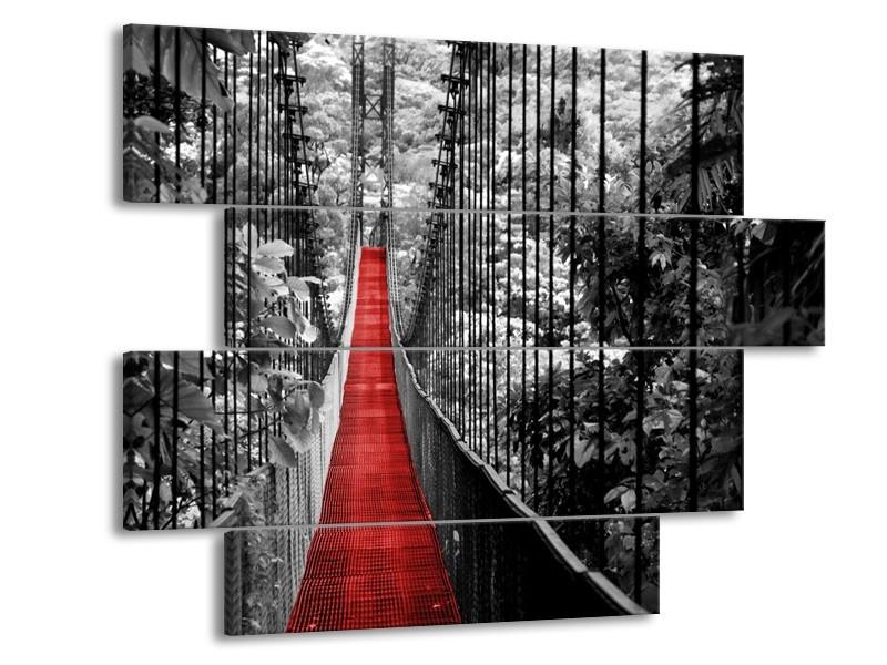 Canvas Schilderij Natuur, Brug | Zwart, Wit, Rood | 115x85cm 4Luik