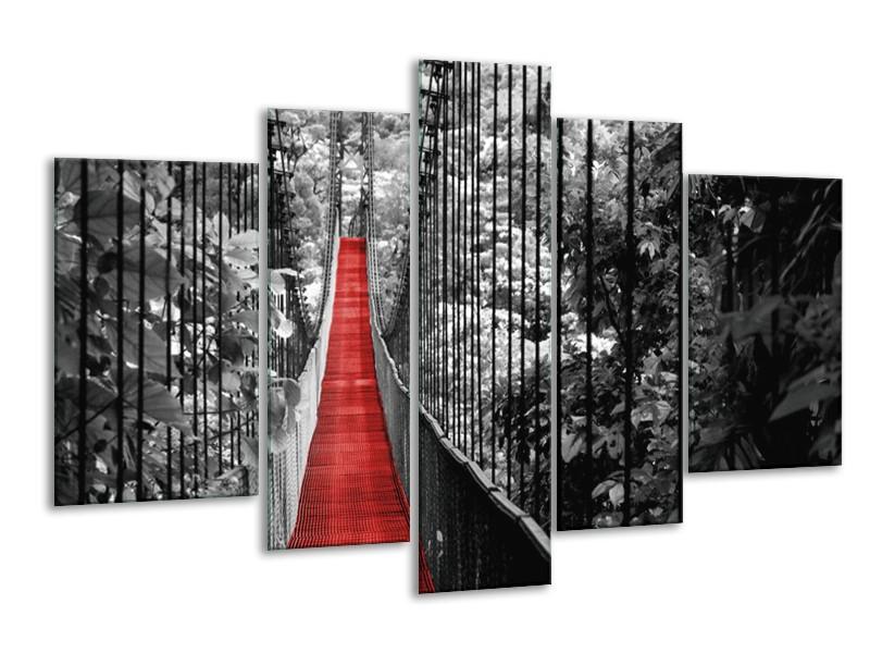 Glasschilderij Natuur, Brug | Zwart, Wit, Rood | 170x100cm 5Luik