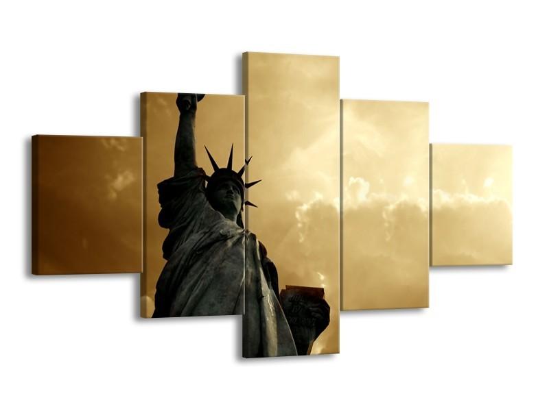 Glasschilderij Vrijheidsbeeld, New York | Grijs, Geel, Bruin | 125x70cm 5Luik
