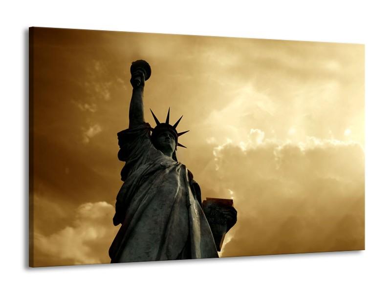 Glasschilderij Vrijheidsbeeld, New York | Grijs, Geel, Bruin | 140x90cm 1Luik