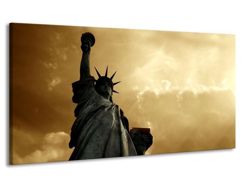 Canvas Schilderij Vrijheidsbeeld, New York | Grijs, Geel, Bruin | 170x90cm 1Luik