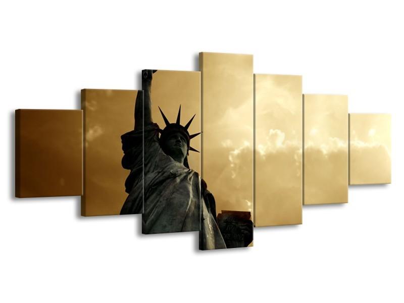 Glasschilderij Vrijheidsbeeld, New York | Grijs, Geel, Bruin | 210x100cm 7Luik