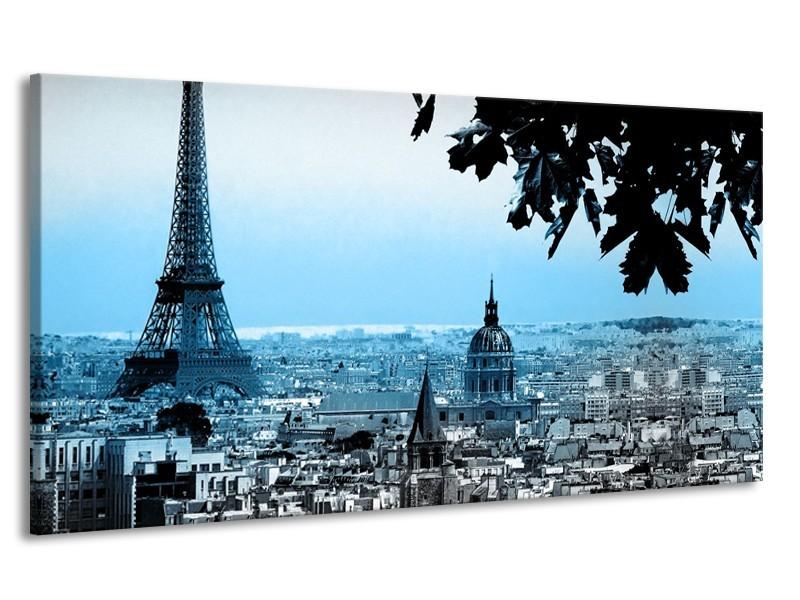Canvas Schilderij Parijs, Eiffeltoren | Blauw, Grijs | 170x90cm 1Luik