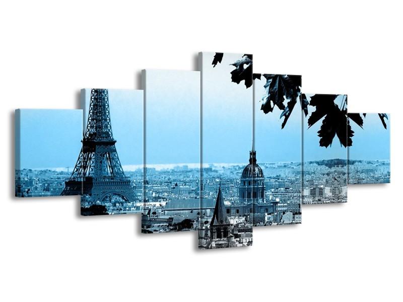 Glasschilderij Parijs, Eiffeltoren | Blauw, Grijs | 210x100cm 7Luik