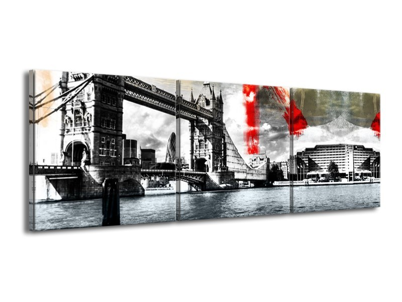 Canvas Schilderij Brug, Engeland | Grijs, Zwart, Wit | 150x50cm 3Luik