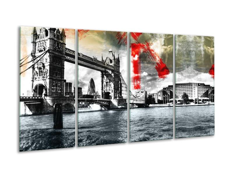 Canvas Schilderij Brug, Engeland | Grijs, Zwart, Wit | 160x80cm 4Luik