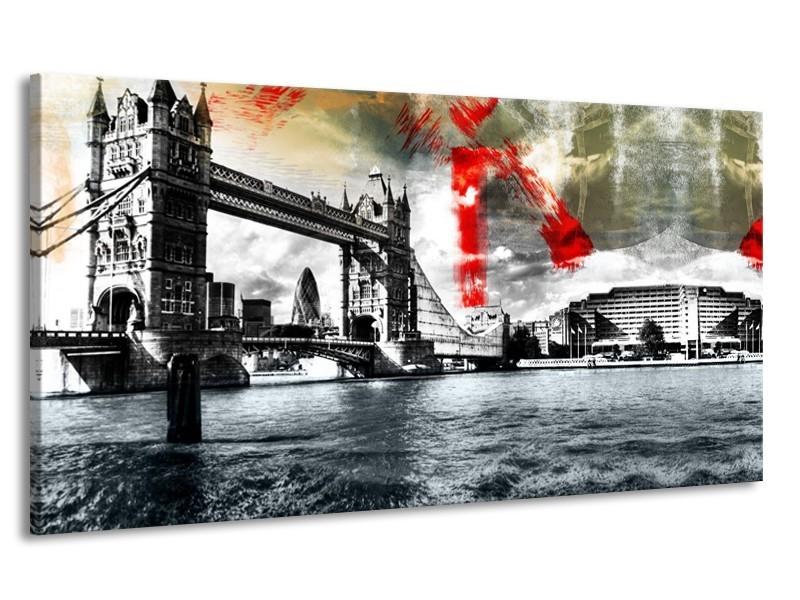 Canvas Schilderij Brug, Engeland | Grijs, Zwart, Wit | 170x90cm 1Luik