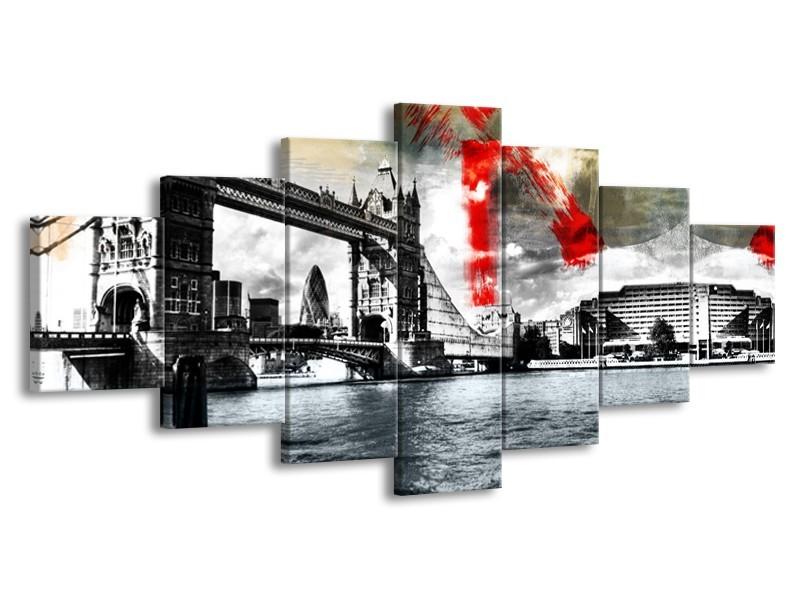 Glasschilderij Brug, Engeland | Grijs, Zwart, Wit | 210x100cm 7Luik