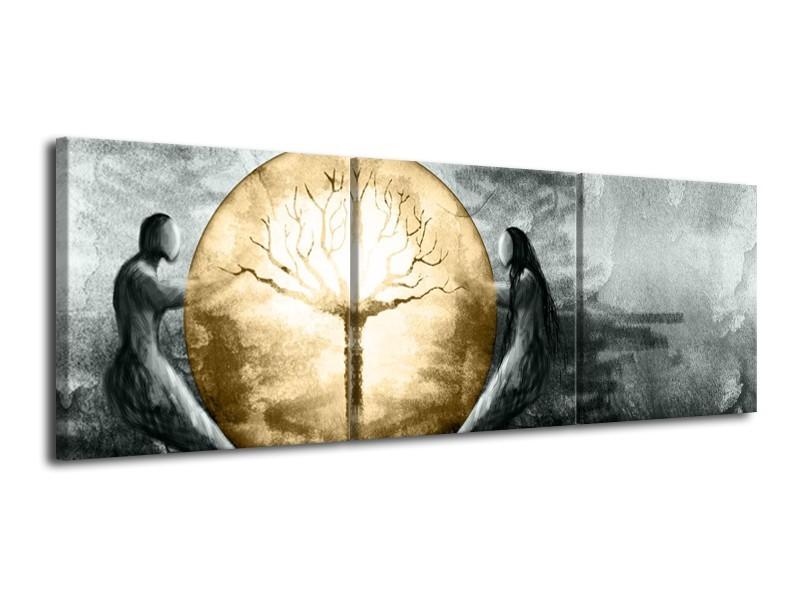 Canvas Schilderij Modern, Design   Grijs, Goud   120x40cm 3Luik