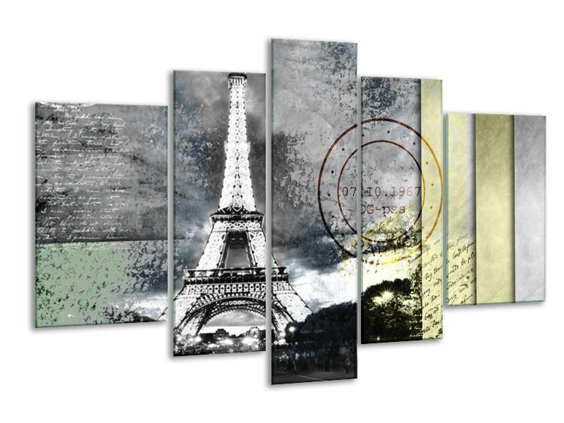 Canvas Schilderij Parijs, Eiffeltoren | Grijs | 170x100cm 5Luik