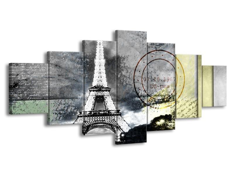 Glasschilderij Parijs, Eiffeltoren | Grijs | 210x100cm 7Luik