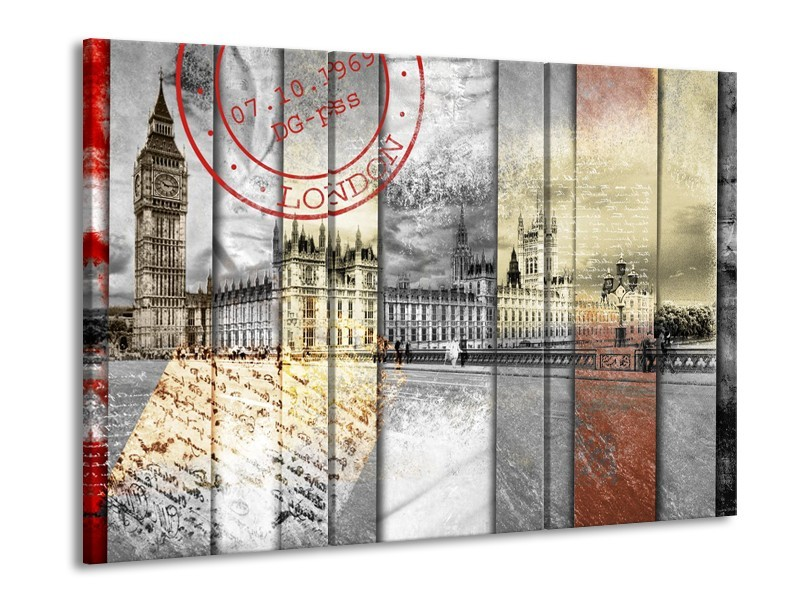 Glasschilderij Engeland, London | Grijs | 60x90cm 3Luik