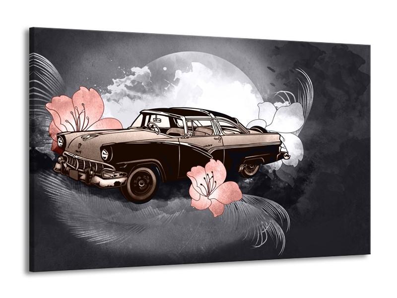 Glasschilderij Oldtimer, Auto | Grijs | 140x90cm 1Luik