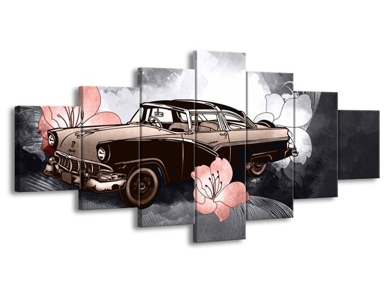 Glasschilderij Oldtimer, Auto | Grijs | 210x100cm 7Luik