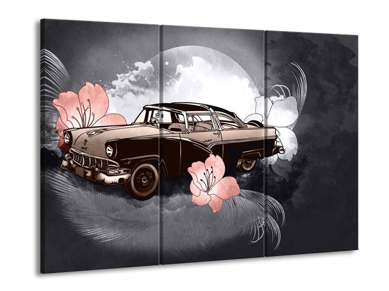 Glasschilderij Oldtimer, Auto   Grijs   60x90cm 3Luik