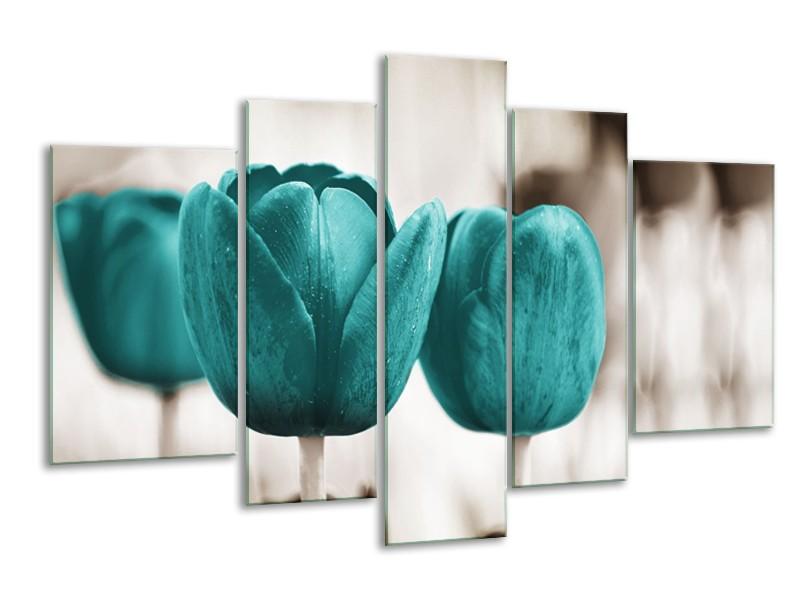Glasschilderij Tulpen, Bloemen | Turquoise, Sepia | 170x100cm 5Luik