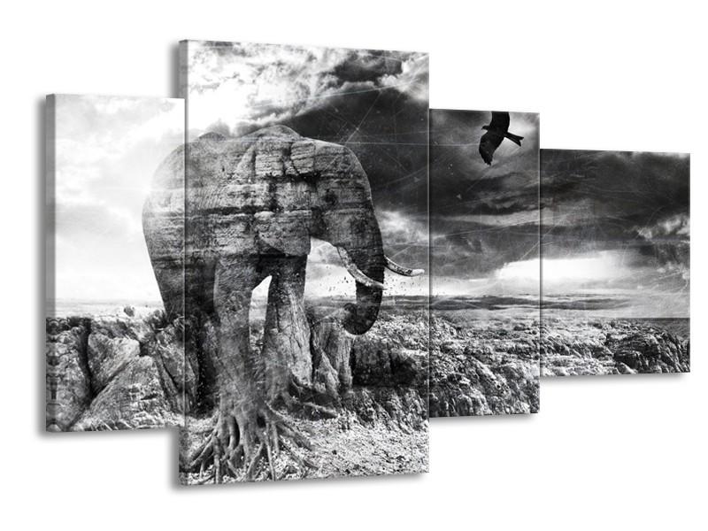 Canvas Schilderij Modern, Olifant   Zwart, Wit, Grijs   120x75cm 4Luik