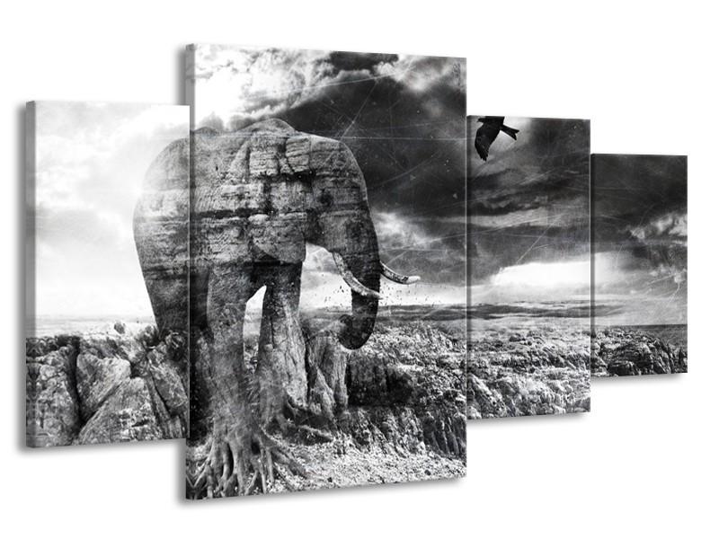 Canvas Schilderij Modern, Olifant | Zwart, Wit, Grijs | 160x90cm 4Luik