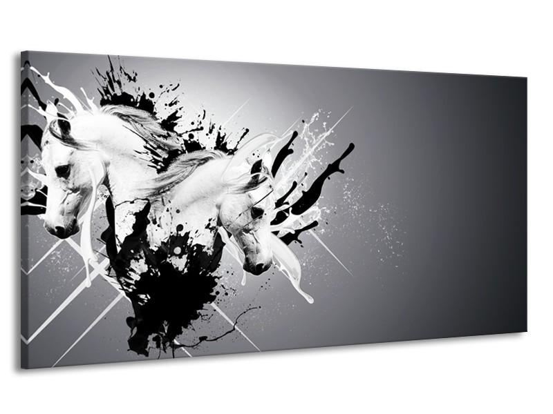 Canvas Schilderij Design, Paard | Zwart, Wit, Grijs | 170x90cm 1Luik