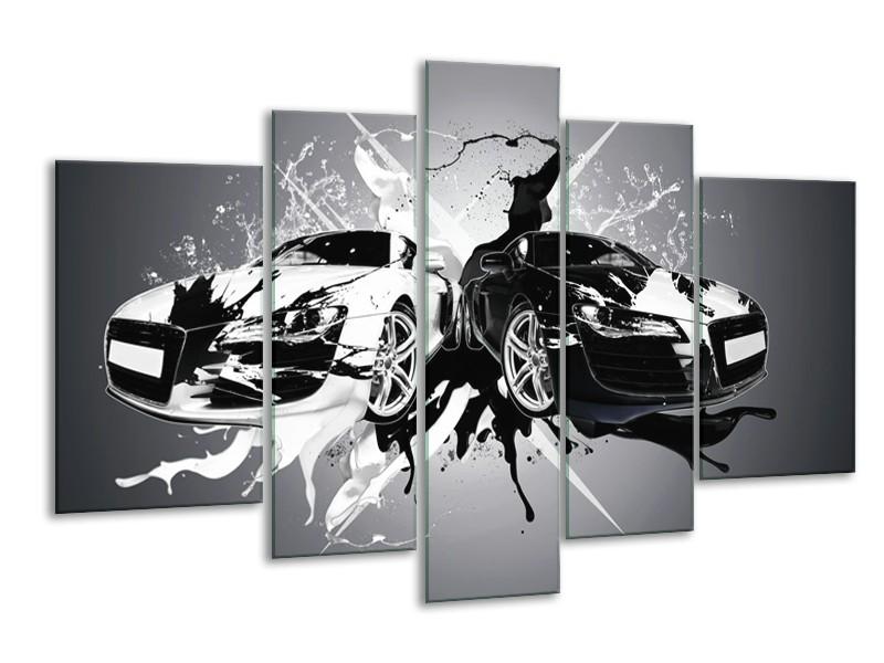 Glasschilderij Audi, Auto   Zwart, Wit, Grijs   170x100cm 5Luik