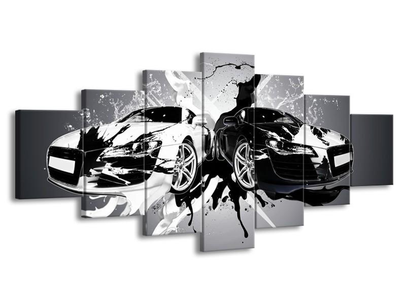 Glasschilderij Audi, Auto | Zwart, Wit, Grijs | 210x100cm 7Luik