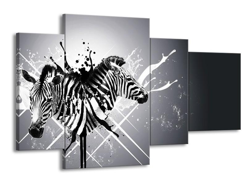 Canvas Schilderij Modern, Zebra | Zwart, Wit, Grijs | 120x75cm 4Luik