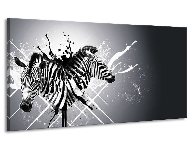 Canvas Schilderij Modern, Zebra | Zwart, Wit, Grijs | 170x90cm 1Luik