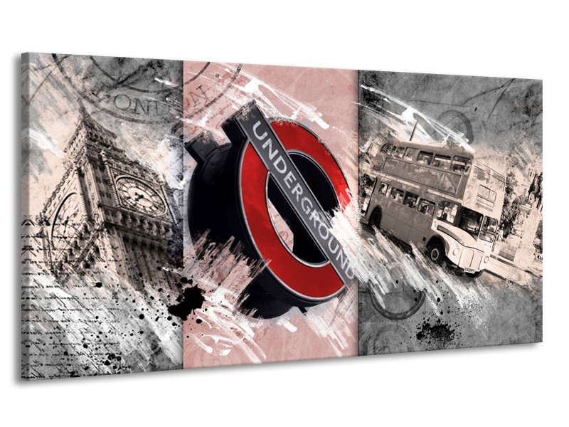 Canvas Schilderij Underground, Engeland | Grijs, Rood | 170x90cm 1Luik