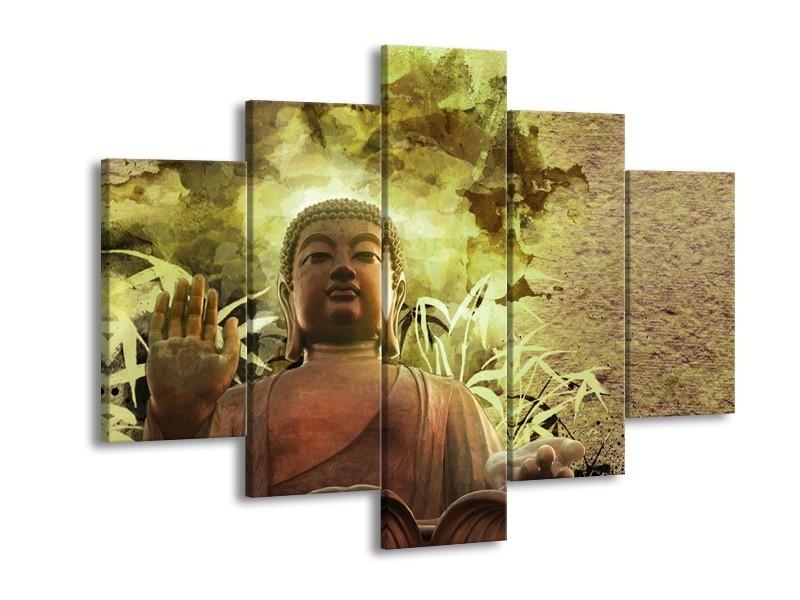 Canvas Schilderij Boeddha, Beeld   Bruin, Groen   150x105cm 5Luik