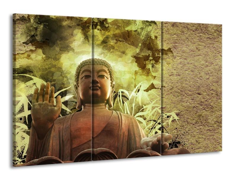 Glasschilderij Boeddha, Beeld | Bruin, Groen | 165x100cm 3Luik
