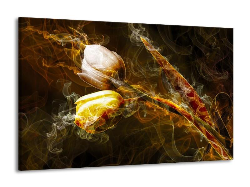 Canvas Schilderij Tulpen, Bloemen   Bruin, Goud, Geel   140x90cm 1Luik