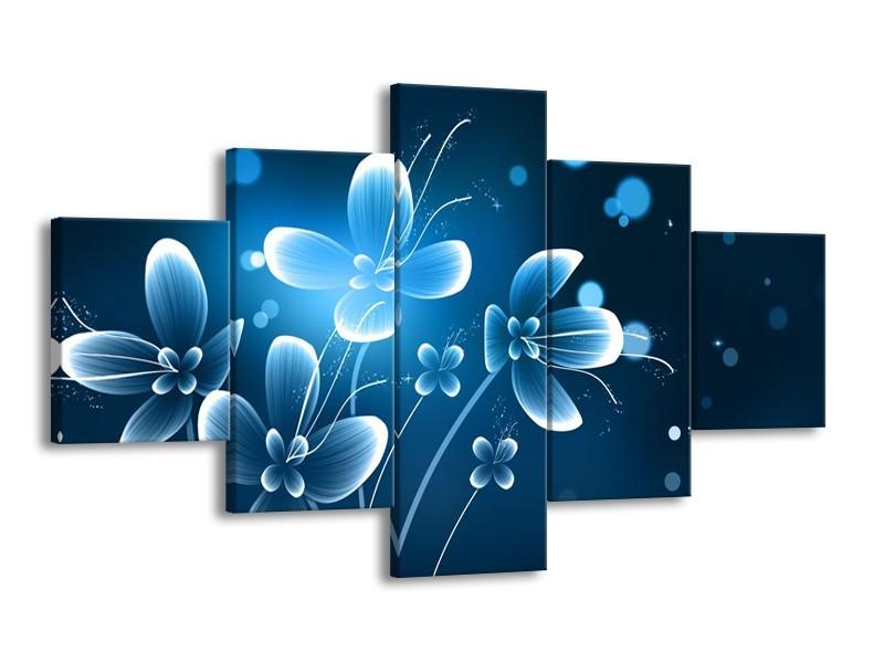 Canvas Schilderij Bloemen, Modern   Blauw, Wit   125x70cm 5Luik