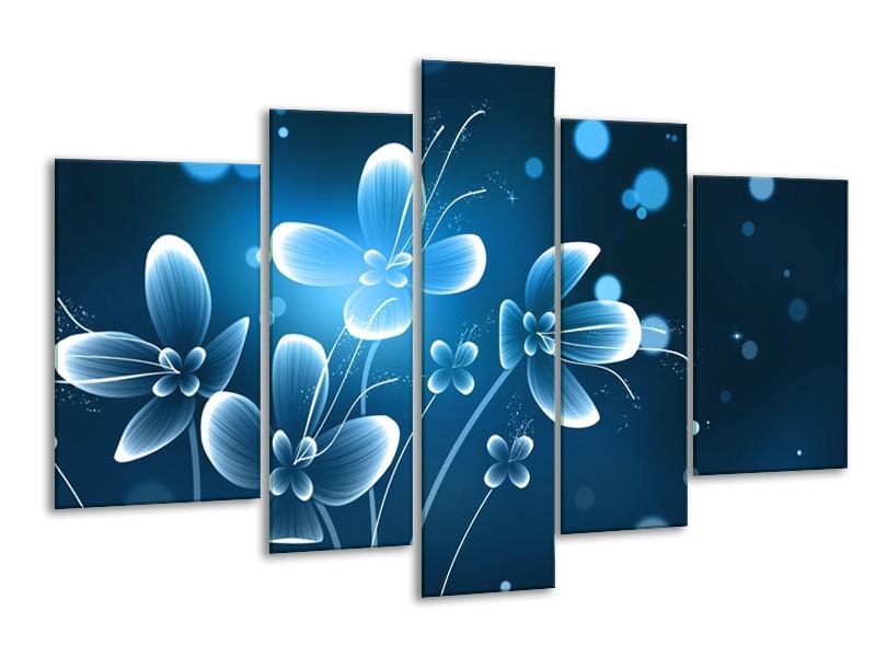 Glasschilderij Bloemen, Modern | Blauw, Wit | 170x100cm 5Luik