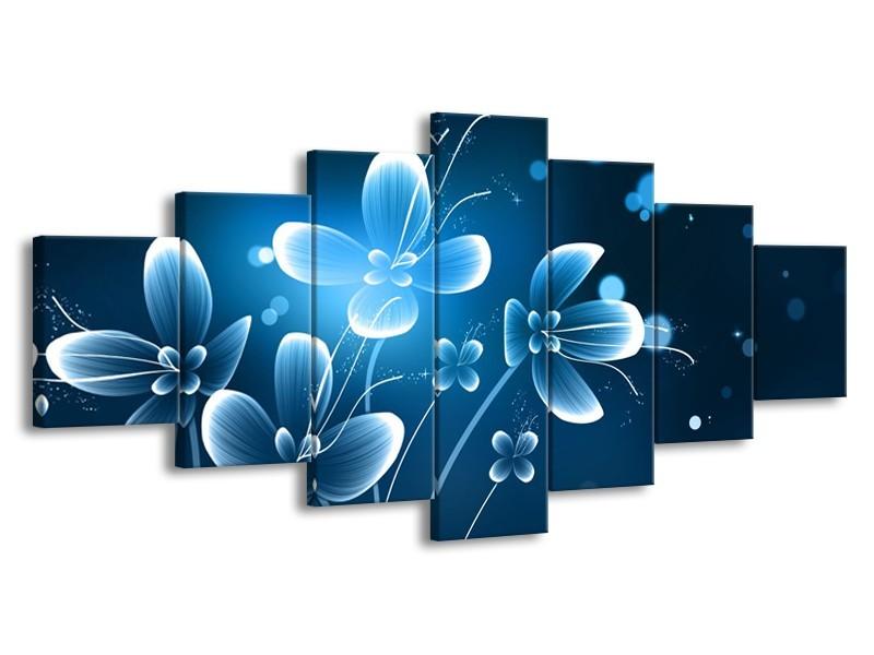 Glasschilderij Bloemen, Modern | Blauw, Wit | 210x100cm 7Luik
