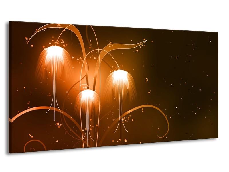 Canvas Schilderij Design, Abstract | Bruin, Goud | 170x90cm 1Luik