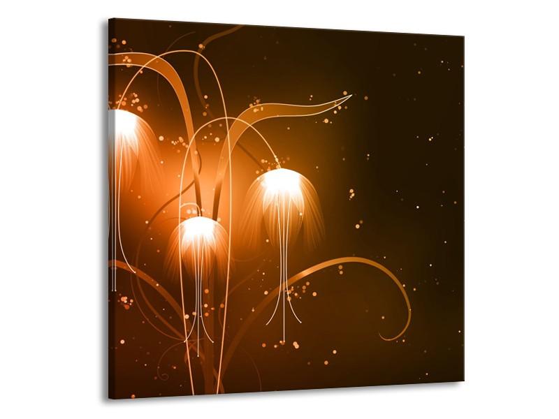 Glasschilderij Design, Abstract   Bruin, Goud   50x50cm 1Luik